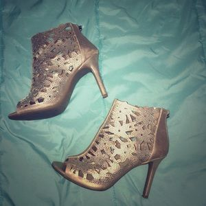 Rose Gold and Rhinestone Cutout Ankle Boots